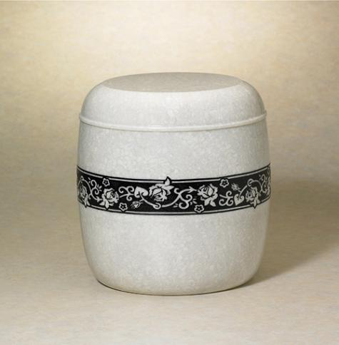 NM30412-2A Accolade Natural Marble Urn w/ Rose Motif