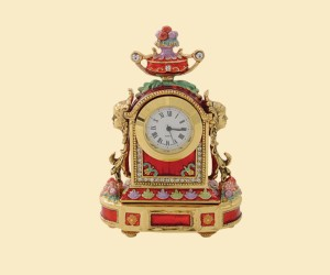 3337 Round Clock Jeweled Box