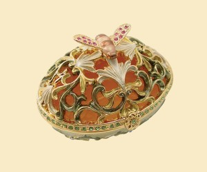 3343 Flower Bee Jeweled Box