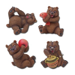 7634 Grizzly Bears Set of 4