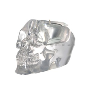 8375 Translucent Skull Candle Holder
