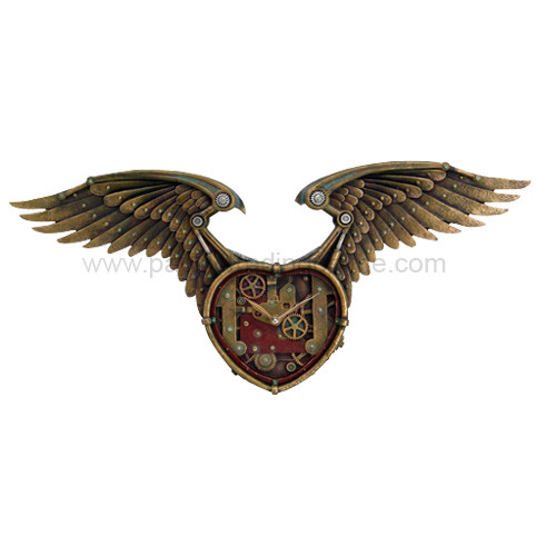 8882 Steampunk Winged Heart Clock