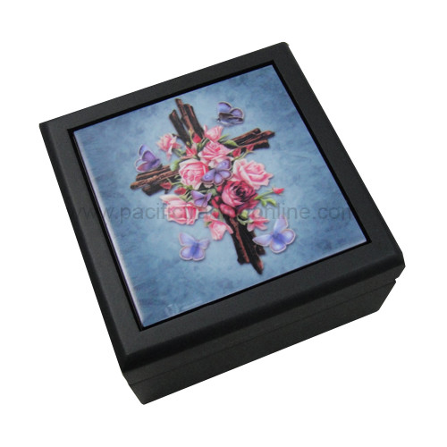 90222 Butterfly Rose Cross Tile Box