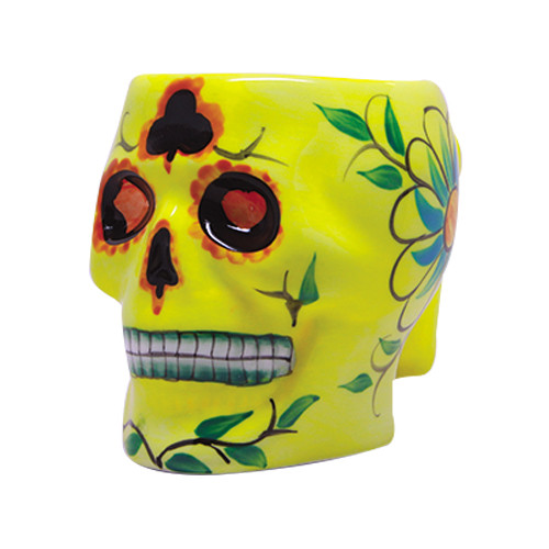 9335 Yellow Day of the Dead Skull Mug