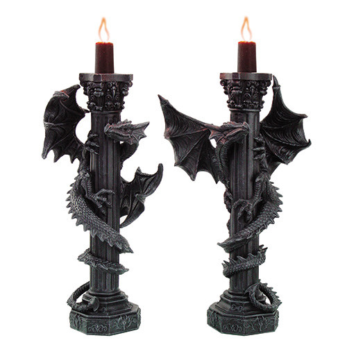 9396 Dragon Column Candle Holders Set