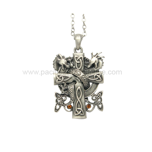 J365 Dragon Cross Necklace