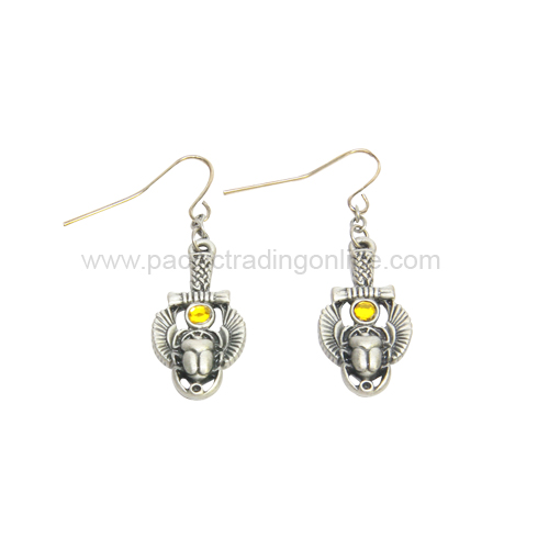 J377 Egyptian Scarab Earrings