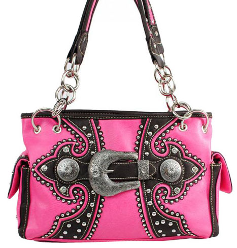 VSB8085PK Embroidery Buckle Pink Handbag